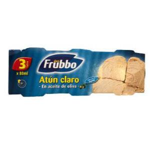 Atún claro en aceite de girasol Frubbo, pack de 3 latas