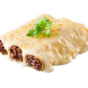 Canelones de carne rustida, bechamel y queso para gratinar
